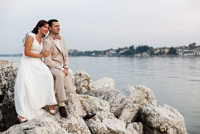 just-married couple shot at Desenzano at Garda Lake by honeymoon photographer