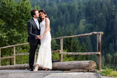 couple hugging during wedding photo service in Trentino, Northern Italy