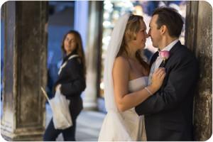 Russian couple hugging in photo walk in Venice