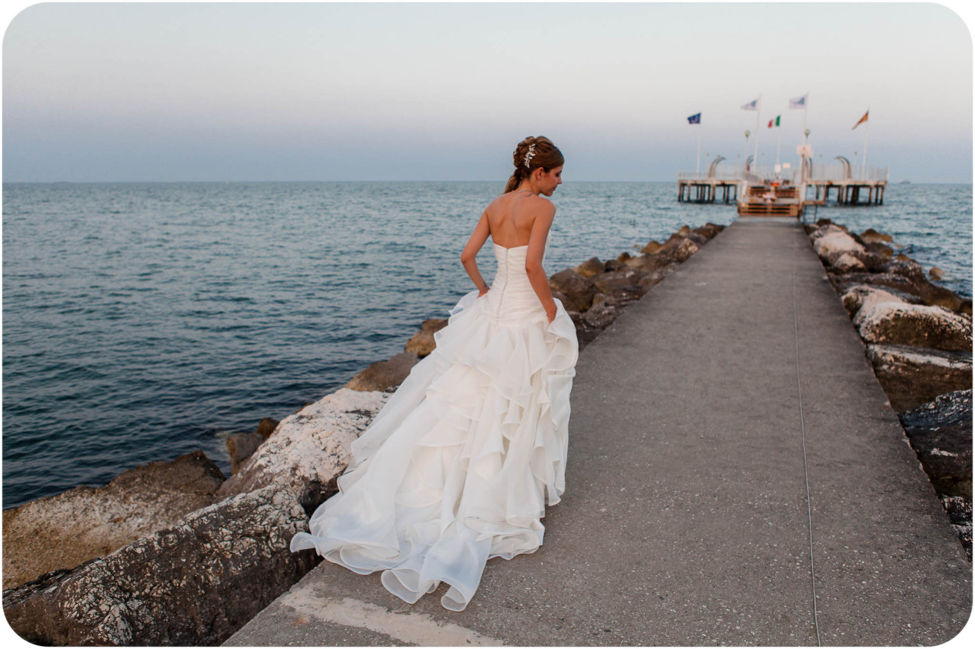 bride running during wedding reportage in Venice
