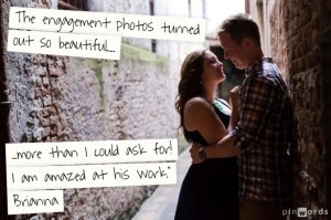 couple hug during engagement photo service in Venice