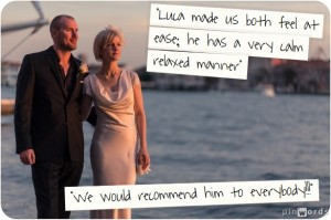 Bristish couple during wedding photo service in Venice