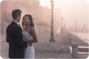 couple hugging during pre-wedding photo session in Venice