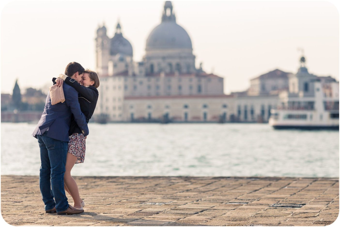 couple hug during wedding proposal photo reportage in Venice