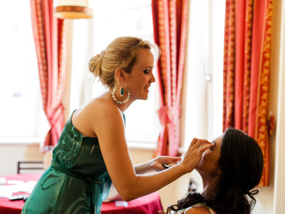 bride getting ready during wedding reportage in the Italian Alps