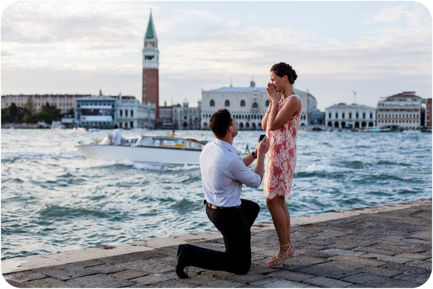 would-be husband proposes during surprise engagement photo session in venice